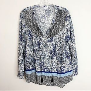 DR2   Paisley and Striped Buttoned Blouse Sz. XL